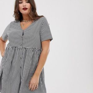NEW ASOS Curve Striped Smock Mini Dress  Sz 12 14